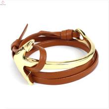 2017 cuir wrap Lady montre Sexy taille chaîne ancre bracelet en cuir bracelet