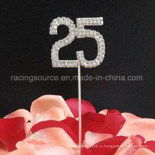 25-й номер серебряной свадьбы горный хрусталь торт Топпер для свадьбы украшения