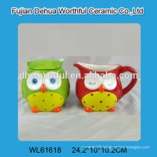 Ceramic owl sugar and creamer set with spoon for wholesale