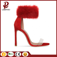red fur high heel sweet ankle sandals