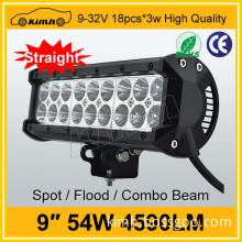 "High quality 9"" 4590LM 54w aluminium profile led light bar"