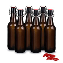 Wholesale16 oz 500ml Amber brown Swing top Glass Beer Bottles for Home Brewing with flip Caps