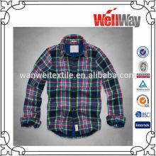 wholesale model classic italian cotton plaid man shirt