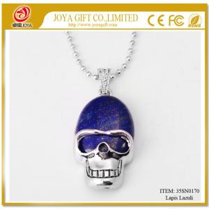 Lapis Lazuli Skull Gemstone Pendant Necklace with Silver chain