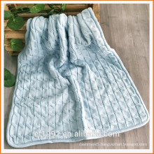 Super Soft and Warm Acrlic/Polyester Double Layer Knitted Thick Cozy Blanket