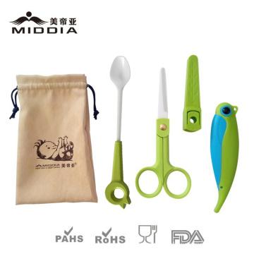 Детские товары/изделия для керамической ложкой+ножницы+нож складной