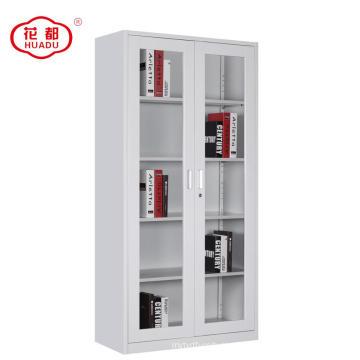 Gabinete de archivo de marco metálico de puertas de vidrio