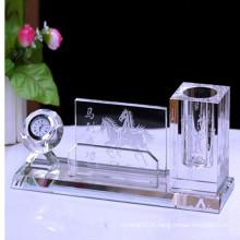 Support en verre populaire de stylo en verre pour la décoration de bureau