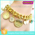 Brazalete de cristal de zafiro austriaco de dama de moda / brazalete de rosario de cristal chapado en oro