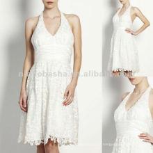 NY-1599 Lace halter com uma faixa de cintura de cetim e vestido de noite de saia cheia