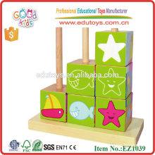 EZ1039 Neun Stücke Vivid Sea World Pattern Block 3D Hölzerne Blocks Spielzeug