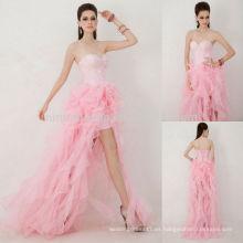 Hermoso 2014 rosa amor rizado falda corto frente y largo trasero con cordones de organza vestido de regreso a casa con Rhinestone NB0830