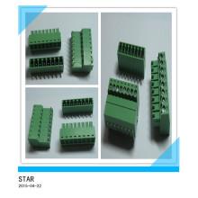 3.5mm Winkel 8 Pin / Way Grün Steckbare Art Schraubklemmenblock Connector
