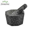 Único conjunto de almofariz e especiaria de granito de cozinha de ervas e pilão