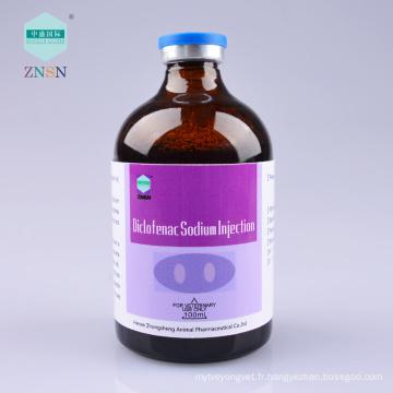 Injection de sodium de diclofenac, utilisation dans la douleur et la fièvre provoquées par la chirurgie de trauma, l'inflammation, etc.