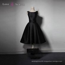 LSQ006 Black exclusive custom satin sexy knee length popular taobao gown evening dress gown