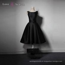 LSQ006 Preto exclusivo personalizado cetim sexy joelho comprimento vestido popular taobao vestido de noite vestido