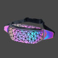 Geometric luminous PU chest bag and waist bag