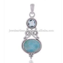 Larimar y cielo azul topacio de piedras preciosas 925 colgante de plata de ley
