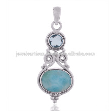 Larimar e pingente de prata esterlina com pedras preciosas com topázio azul céu