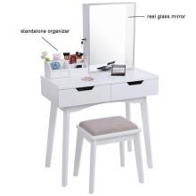 Conjunto de vaidade com espelho e armário de jóias