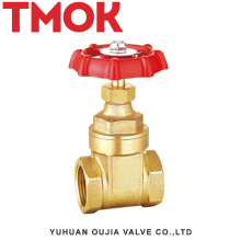 full port high quality brass color double internal thread full open with red hand wheel brass gate valve