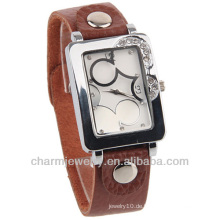 Neue Ankunftsdame Armbanduhrmann Brown-lederne Quarz-Uhr-Uhr