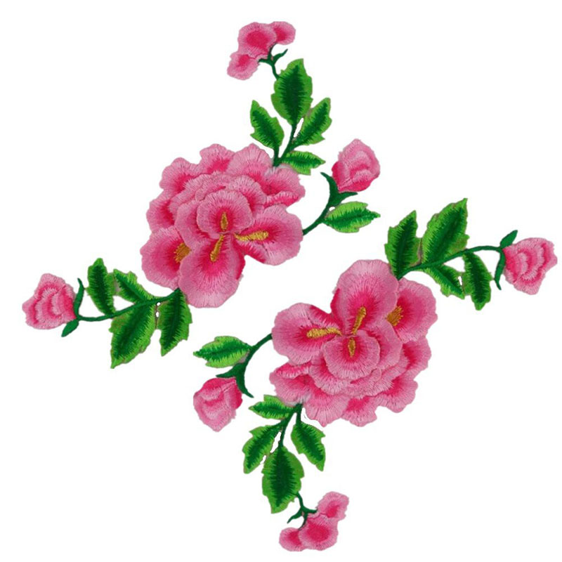 Chinese Peony Applique Embroidered Patches