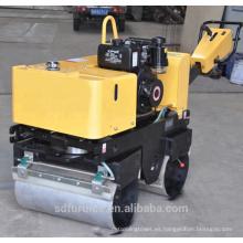 Rodillo vibratorio de doble tambor de empuje manual 2ton fuerza compactador de suelo (FYL-800C)