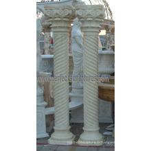 Pilier romain décoratif avec grès en granit de marbre en pierre (QCM137)