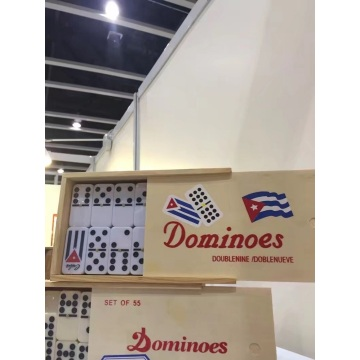 Double 9 Dominoes with Customized Engraved logo Wooden Box