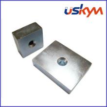 Aimants en néodyme au nickel bloc avec trou (F-009)