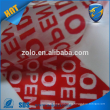 China supplier Tamper evident security tape void label custom printing and add serial number