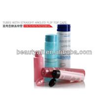 Tubos de embalagem plásticos cosméticos com tampas de encosto em ângulo reto