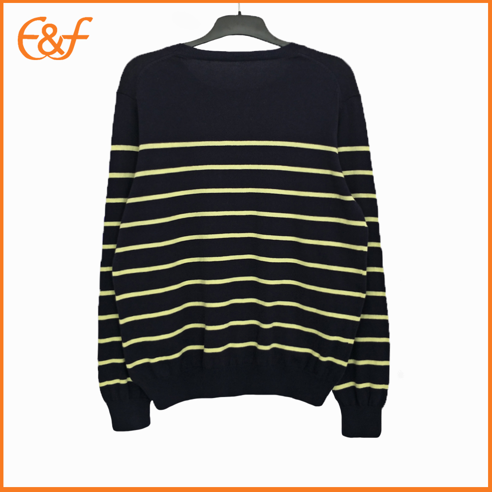 Fashion Pullover Crew neck Black Striped Sweaters For Men