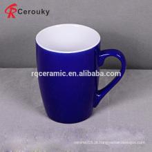 12oz caneca de cerâmica azul sopa com alça