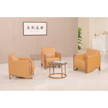 fashion new small design office sofa with wood armrest