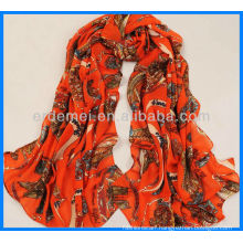 Classic print satin long scarf wholesaler