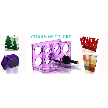 Customized colour acrylic wine display rack stand