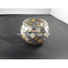 Candelero del tealight del mosaico de plata