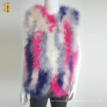 New Fashionable Knitted Women Veste de pele colorida em penas para menina
