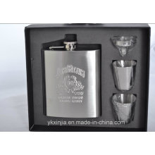 6oz Hip Flask + 2 Cups + 1 Funnel