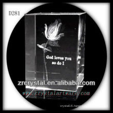 K9 3D Laser Engraved Rose Inside Crystal Rectangle