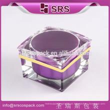 China 15ml 30ml 50ml creme verde quadrado embalagem feita de acrílico, frasco de creme vazio