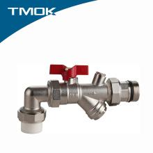 Válvula de bola tipo PPR de ángulo con filtro y ventaja competitiva en valvula TMOK
