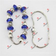 Fashion Blue Glass Beads Snake Chain Bracelets Gifts (SOE60229)