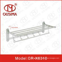 Adjustable Wall Mounted Stainless Steel Towel Rack with Hook