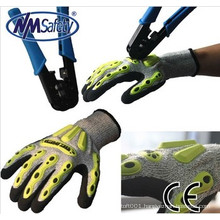 NMSAFETY 2014 anti impact resistant gloves mechanic gloves impact glove with TPR protection