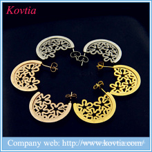 Antique jewelry express alibaba 18k gold titanium steel hollow flower pattern earrings woman