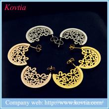 Antique jóias expressar alibaba 18k ouro titânio de aço oca flor padrão brincos mulher